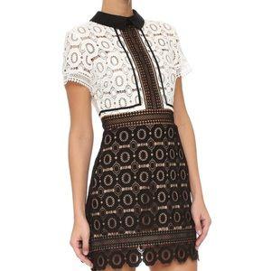 SELF-PORTRAIT FELICIA COLLARED LACE Mini Dress